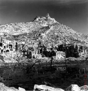 Photo du Monte Cassino (Italie) après la bataille de 1944
